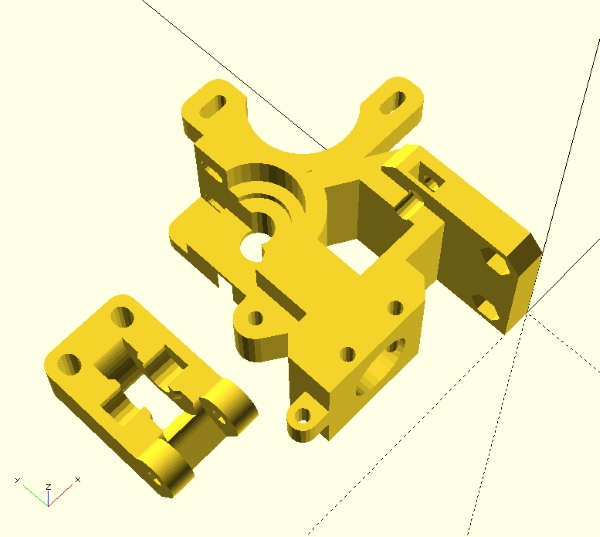i3 Rework extruder derived from ch1t0's design, STLs imported in OpenSCAD.