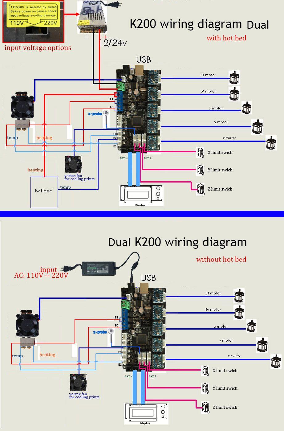 K200 Reprap Dual Wiring Diagram