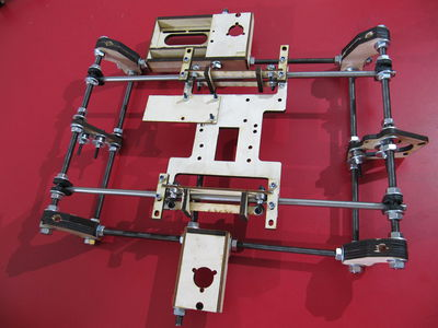 Image of a Huxley Y Axis, assembled from a TechZoneCommunications Lasercut Mendel Kit