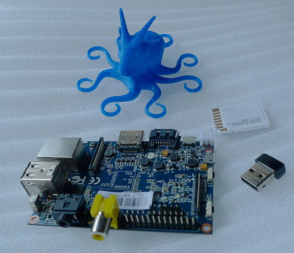 Banana Pi, WiFi dongle, SD card and Octogoat.