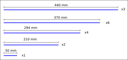 Lengths of threaded rods (Click to zoom)