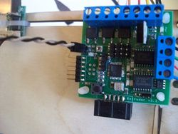 The two pins connected to the thermistor inputs on the extruder controller