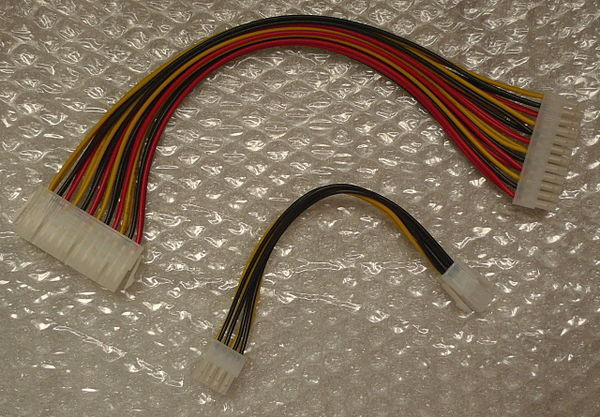 A pair of cables needed to adapt an ATX PSU for Reprap use.