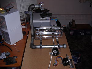 A side view of the frame with axis attached
