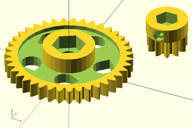 Straight gears for Wade's geared extruder by Greg Frost, december 2010.